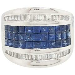 18 Karat White Gold Sapphire and Diamond Band Ring