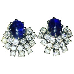 GEMOLITHOS 18 Karat White Gold Sapphire and Diamond Clip-on Earrings