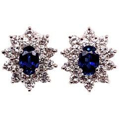 18 Karat White Gold Sapphire and Diamond Cluster Earrings