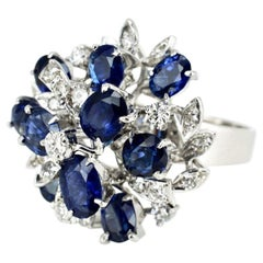 18 Karat White Gold Sapphire and Diamond Cluster Ring, 1970s