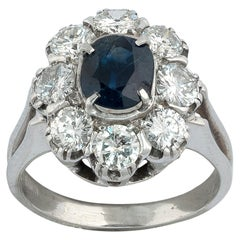 18 Karat White Gold Sapphire and Diamond Cluster Ring