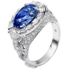 18 Karat White Gold Sapphire and Diamond Cocktail Ring