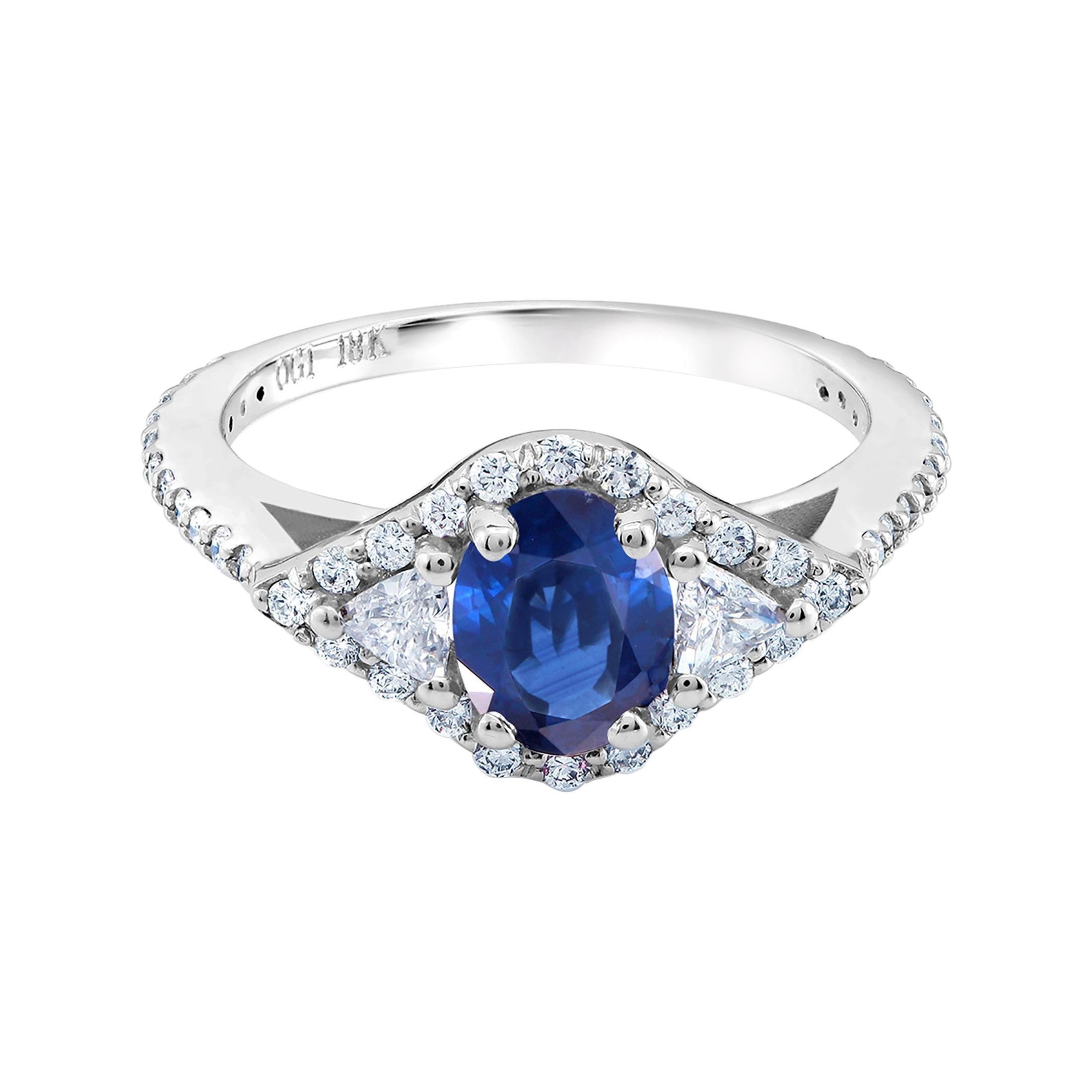 18 Karat White Gold Sapphire and Trillion Diamonds Cocktail Cluster Ring