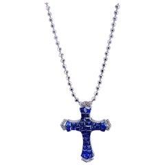 18 Karat White Gold Sapphire and Diamond Cross Pendant