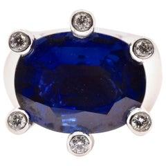 18 Karat White Gold Sapphire and Diamond Custom Geometric Fashion Ring