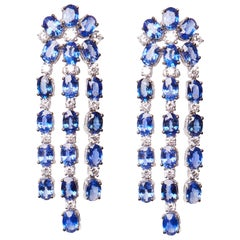 18 Karat White Gold Sapphire and Diamond Dangle Earrings