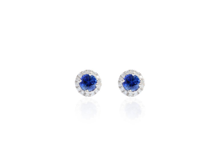 Contemporary 18 Karat White Gold Sapphire and Diamond Earrings For Sale