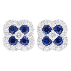 18 Karat White Gold Sapphire and Diamond Four-Leaf Clover Earrings