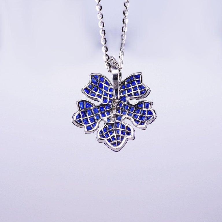 Modern 18 Karat White Gold Sapphire and Diamond Maple Pendant For Sale
