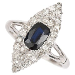 18 Karat White Gold Sapphire and Diamond Marquise Navette Engagement Ring