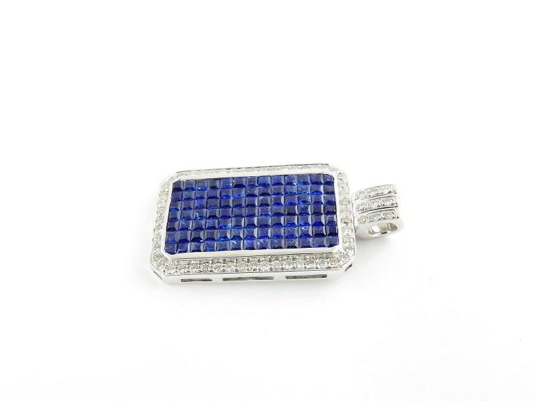 Round Cut 18 Karat White Gold Sapphire and Diamond Pendant For Sale