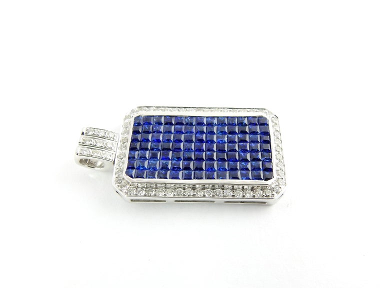 18 Karat White Gold Sapphire and Diamond Pendant In Good Condition For Sale In New Milford, CT