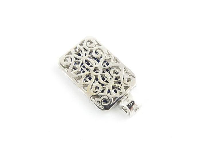 Women's 18 Karat White Gold Sapphire and Diamond Pendant For Sale