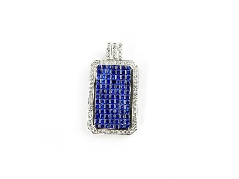 18 Karat White Gold Sapphire and Diamond Pendant For Sale 1