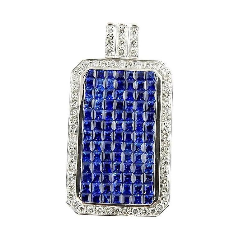 18 Karat White Gold Sapphire and Diamond Pendant For Sale