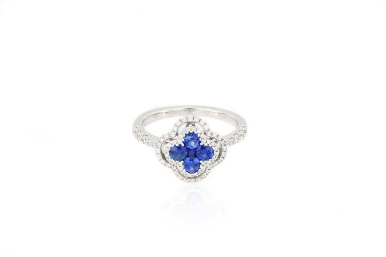 Brilliant Cut 18 Karat White Gold Sapphire and Diamond Ring For Sale