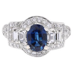 18 Karat White Gold, Sapphire and Diamond Ring