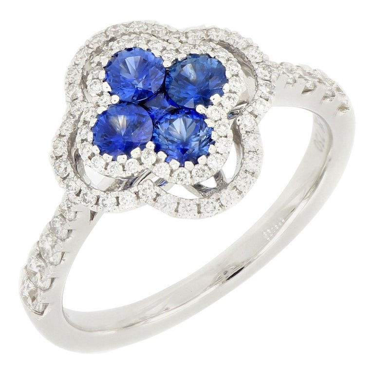 18 Karat White Gold Sapphire and Diamond Ring For Sale