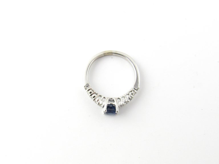 Round Cut 18 Karat White Gold Sapphire and Diamond Ring For Sale