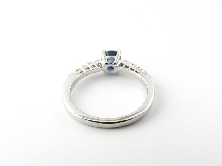Women's 18 Karat White Gold Sapphire and Diamond Ring For Sale