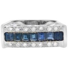 18 Karat White Gold Sapphire and White Diamond Cocktail Ring