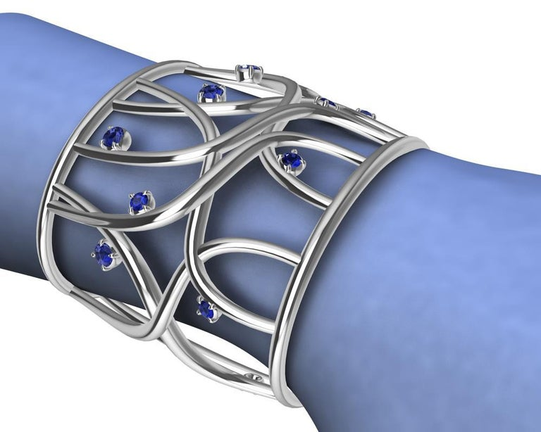 Contemporary 18 Karat White Gold Sapphire Cuff Bracelet For Sale