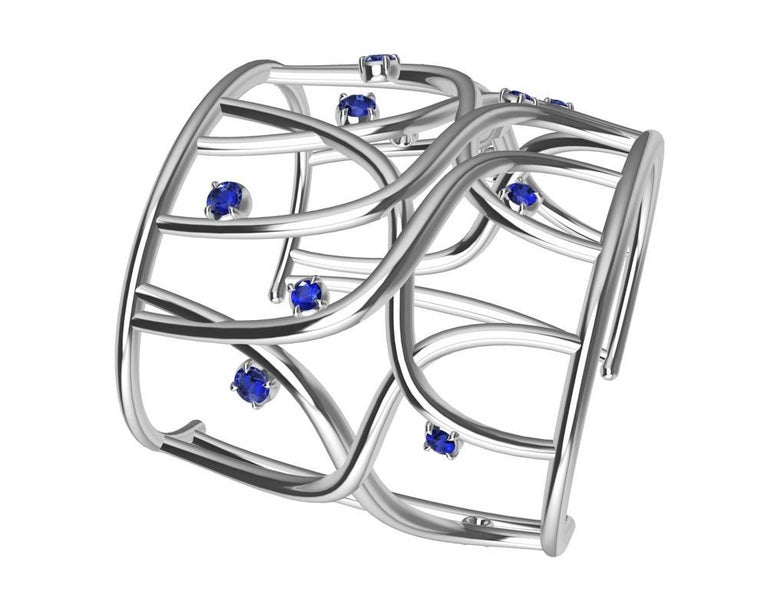 18 Karat White Gold Sapphire Cuff Bracelet In New Condition For Sale In New York, NY