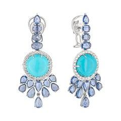 18 Karat White Gold Sapphire Diamond Turquoise Drop Earrings