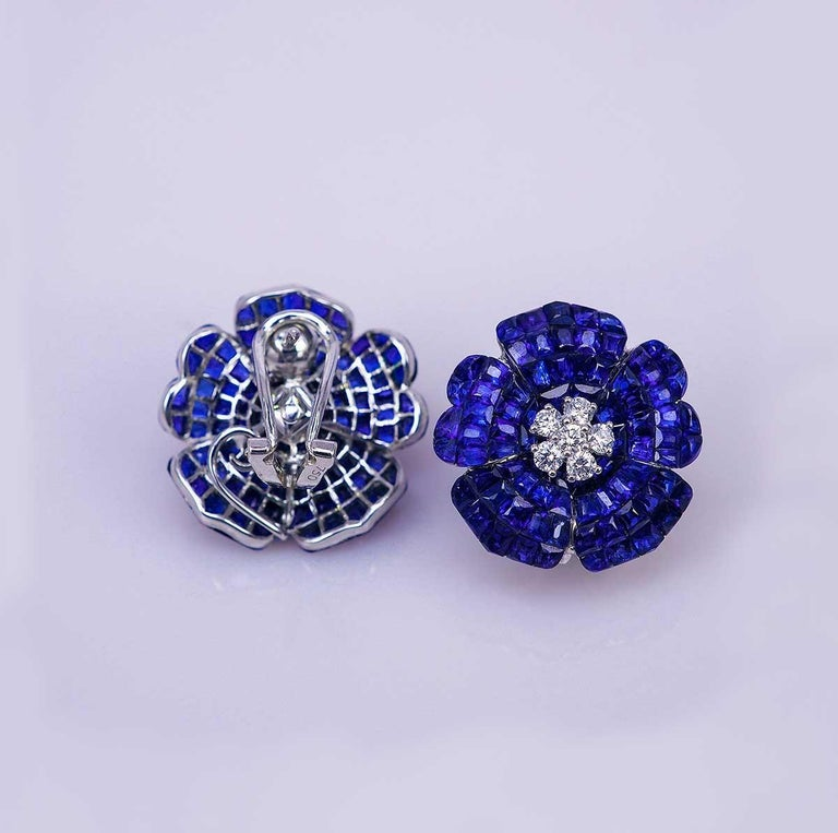 We use the top quality Sapphire which make in invisible setting.We set the stone in perfection as we are professional in this kind of setting more than 40 years.The invisible is a highly technique .We cut and groove every stone .Therefore; we can