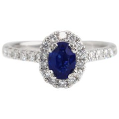 18 Karat White Gold Sapphire Halo Engagement Ring