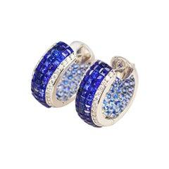 18 Karat White Gold Sapphire Hoop Earrings