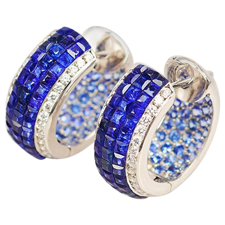 18 Karat White Gold Sapphire Hoop Earrings For Sale