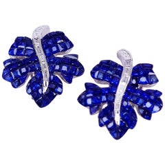 18 Karat White Gold Sapphire Maple Leaf Earrings