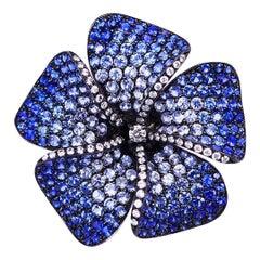 18 Karat White Gold Sapphire Pave Setting Brooch