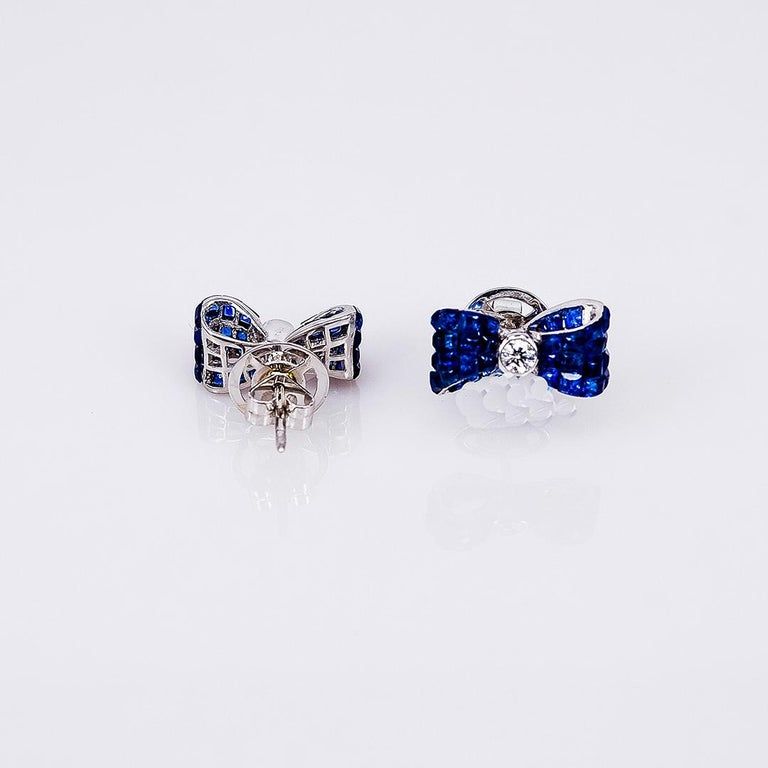18 Karat White Gold Sapphire Stud Invisible Ribbon Earrings In New Condition For Sale In Bangkok, TH