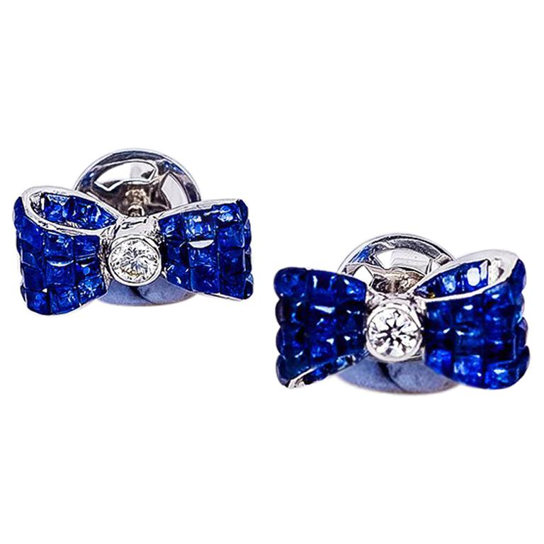 18 Karat White Gold Sapphire Stud Invisible Ribbon Earrings For Sale