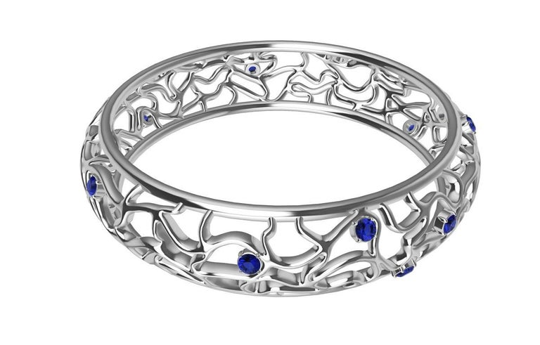 Contemporary 18 Karat White Gold Sapphire Synergistic Bangle For Sale