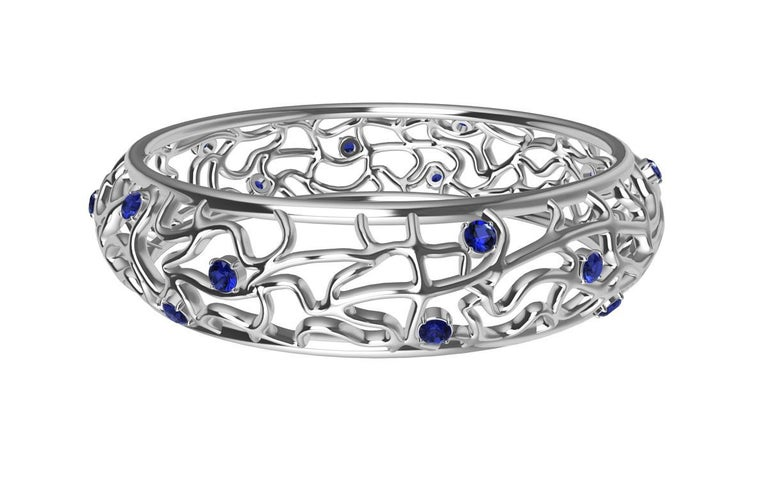 Round Cut 18 Karat White Gold Sapphire Synergistic Bangle For Sale
