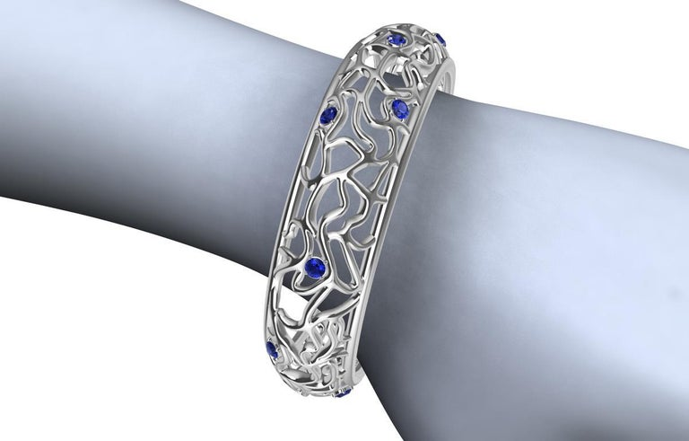 Women's 18 Karat White Gold Sapphire Synergistic Bangle For Sale