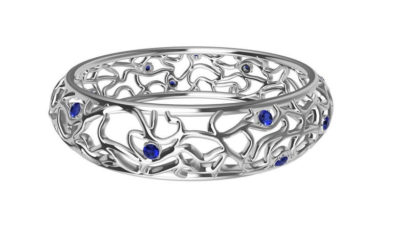 18 Karat White Gold Sapphire Synergistic Bangle For Sale 1