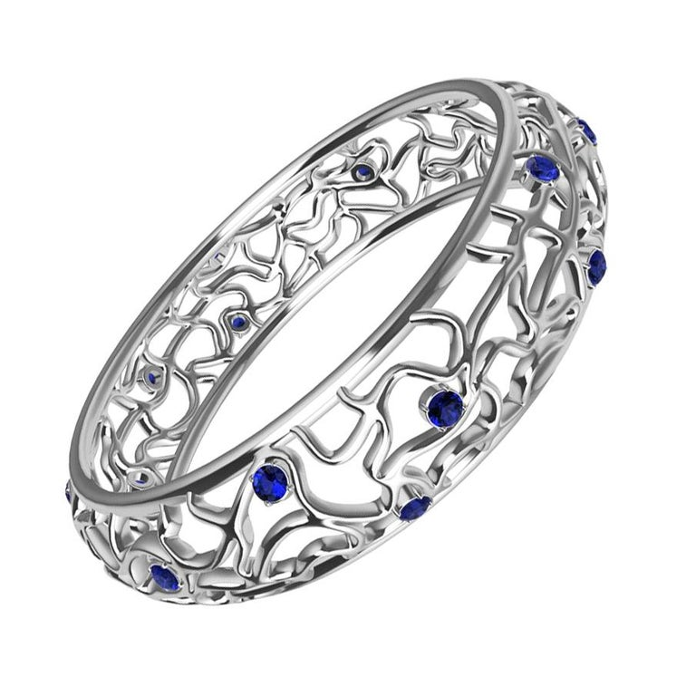 18 Karat White Gold Sapphire Synergistic Bangle For Sale