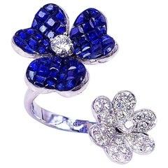 18 Karat White Gold Sapphire with Diamond Cocktail Ring