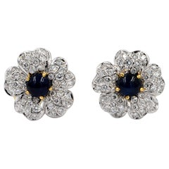 18 Karat White Gold Sapphires and Diamonds Flower Earrings