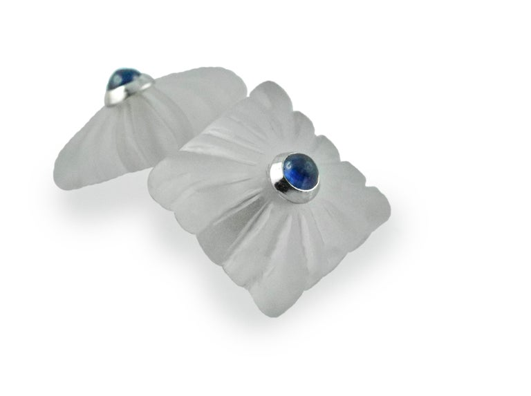 Women's or Men's 18 Karat White Gold Sapphires Carved Frosted Rock Crystal Cufflinks For Sale