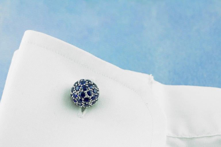 Women's or Men's 18 Karat White Gold Sapphires Cufflinks For Sale