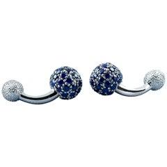 18 Karat White Gold Sapphires Cufflinks