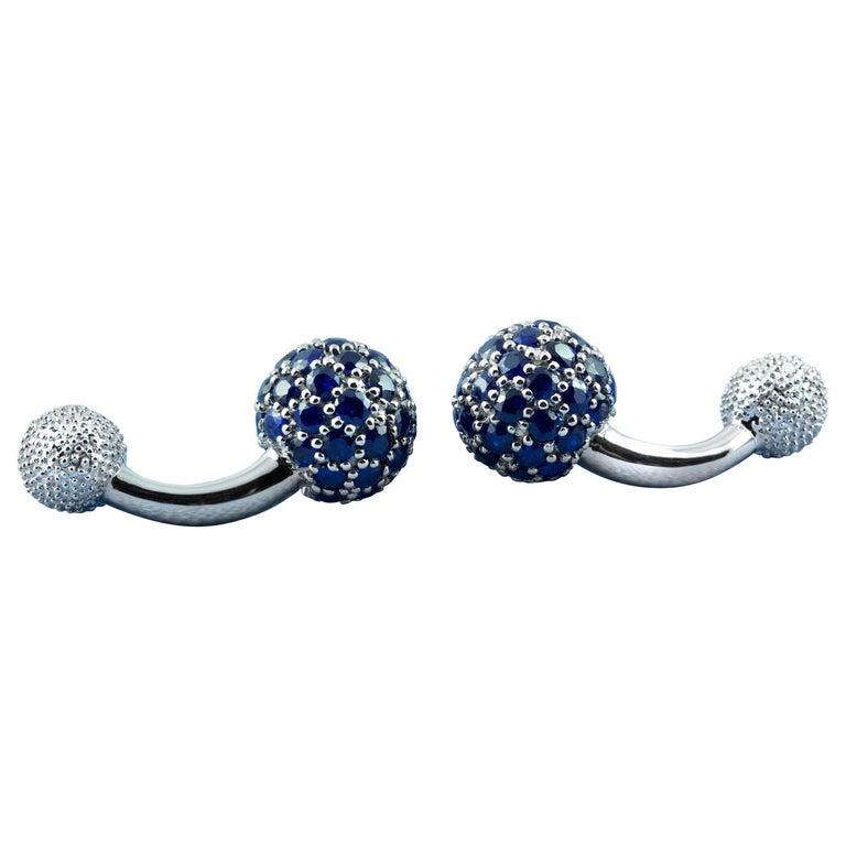 18 Karat White Gold Sapphires Cufflinks For Sale