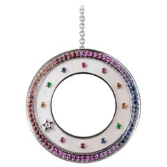 18 Karat White Gold, Sapphires, Diamond, Mother of Pearl Pendant, Drop Necklace