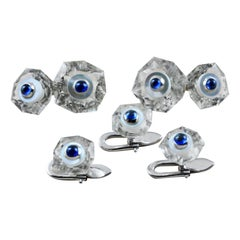 18 Karat White Gold Sapphires Rock Crystal Mother of Pearl Cufflinks and Buttons