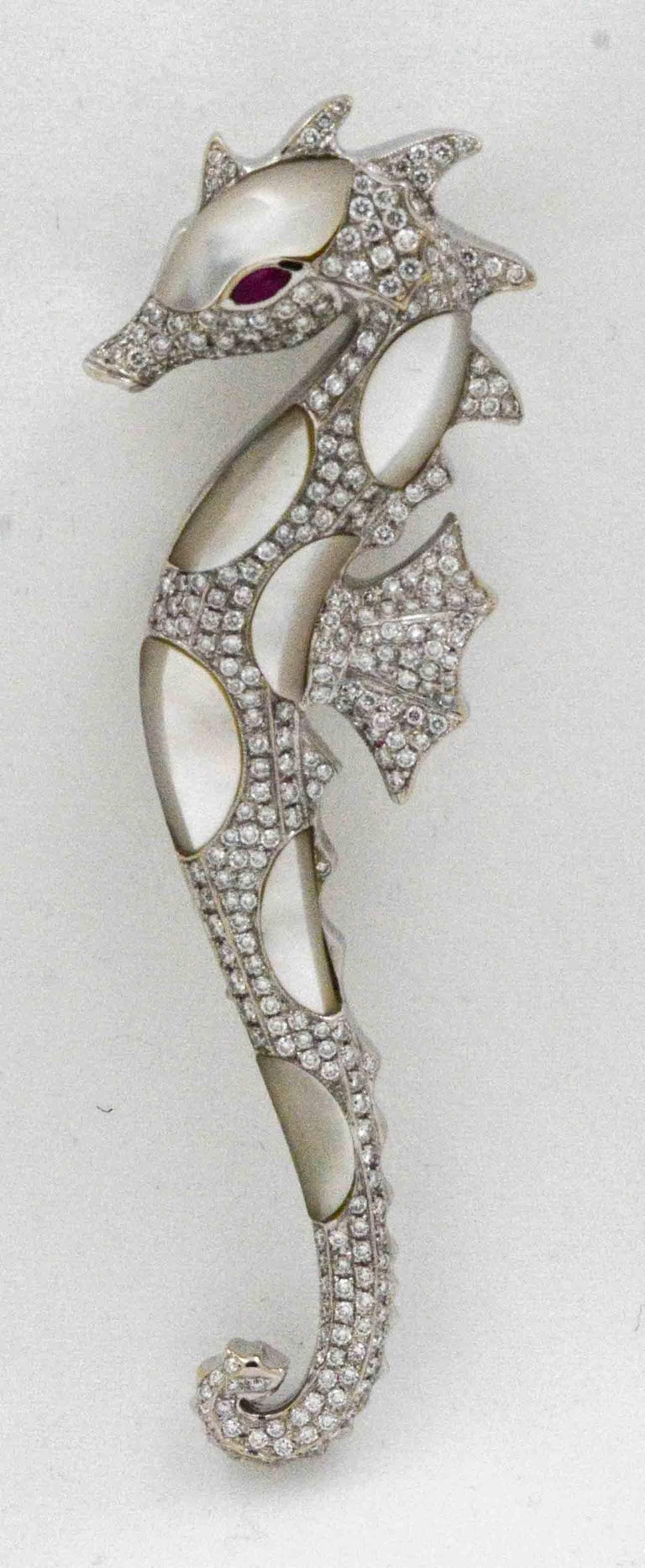 Women's 18 Karat White Gold Seahorse Abalone Shell 2.50 Carat Diamonds Brooch